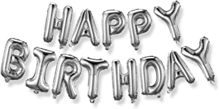 LELE 16 Inch Alphabet Letters Balloons Happy Birthday Party Decoration Aluminum Foil Membrane Ballon - Silver