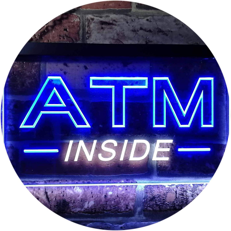 ADVPRO ATM Inside Open Shop Lure Dual Farbe LED Barlicht Neonlicht Lichtwerbung Neon Sign Weiß & Blau 400mm x 300mm st6s43-i0565-wb