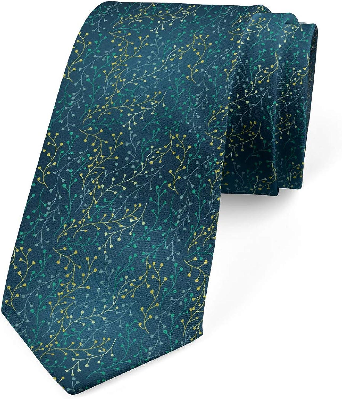 Ambesonne Necktie, Little Buds on Branches, 3.7