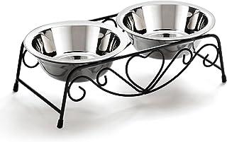 freenation ペットボウル スタンドセット ステンレス製 犬 猫 えさ入れ 餌やり ツインディッシュ (アンティーク調)