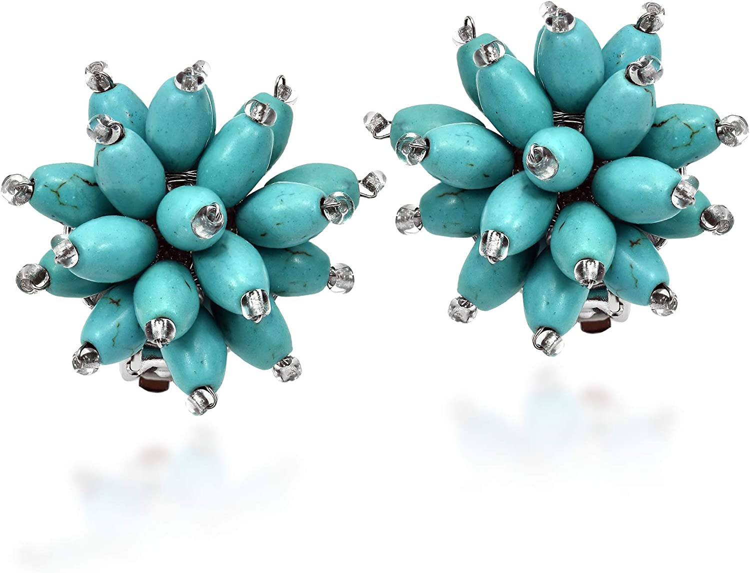 Simulated Turquoise Chrysanthemum Floral Blast Clip-on Earrings