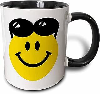 3dRose 3dRose Smiley face with sunglasses on top of head - summer happy cartoon - summery sunny cute cool - Two Tone Black Mug, 11oz (mug_113112_4), Black/White