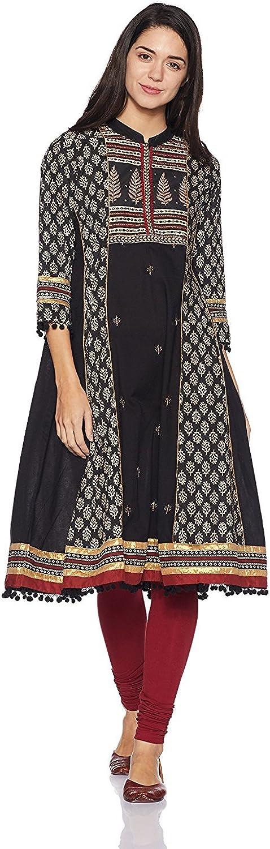 b5a4019012d159 Indian Handicrfats Export Rangriti Women's Polyester Straight Kurta (Size S)