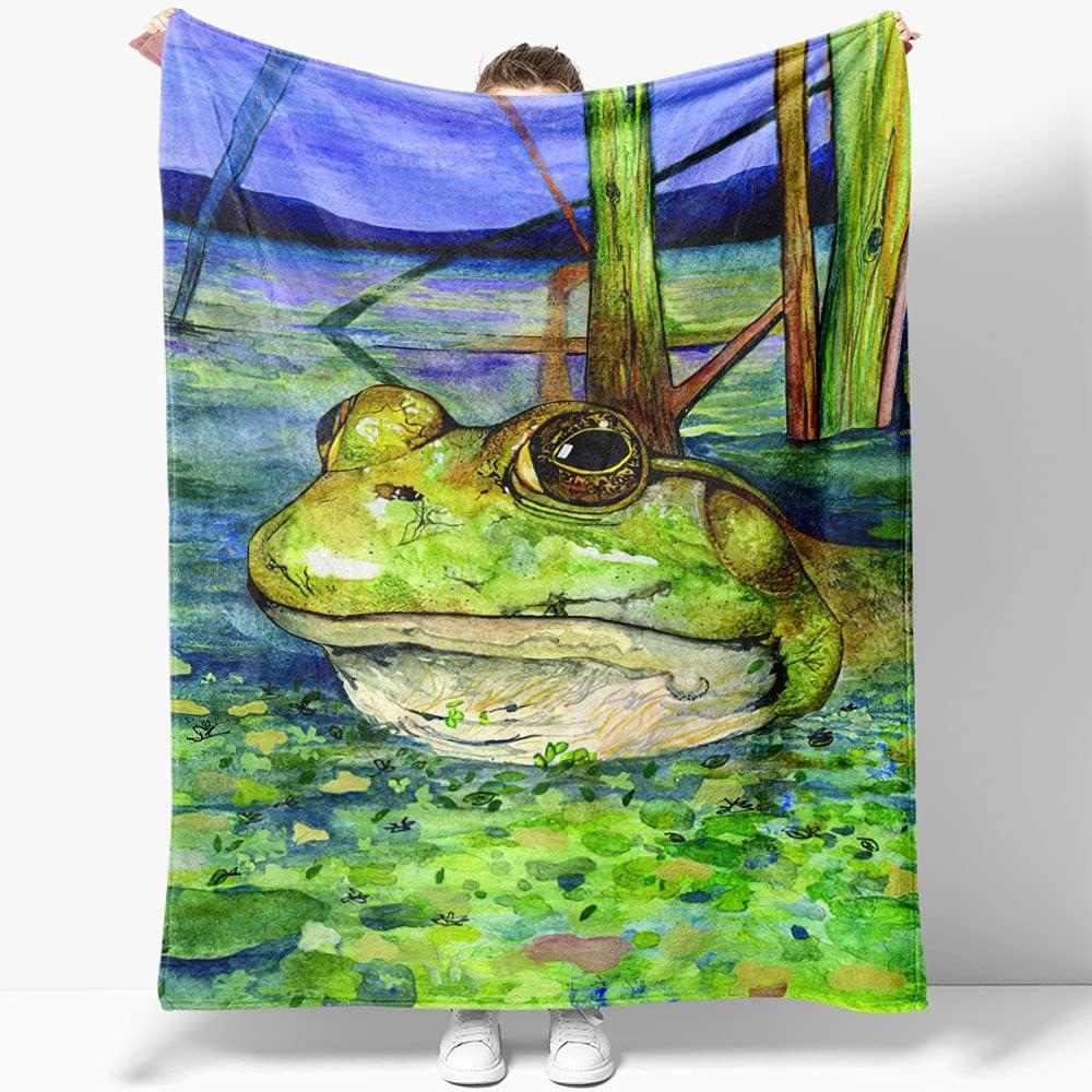 GANTEE Green Frog in Lake Super Kansas City Mall Fleece and Cozy Per Soft Blanket Virginia Beach Mall