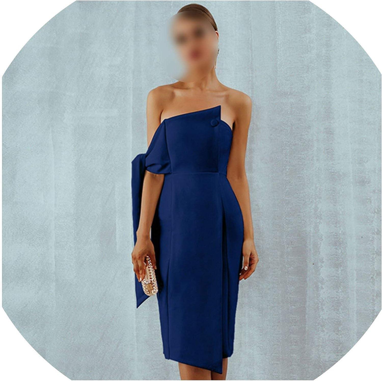 Just Have Fun Party Dress Women One Shoulder Elegant Button Tassels Club Dresses
