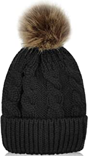 Whiteleopard Kid Beanie Hats Lining Pom Pom for Children -Slouchy Cable Knit Toddler Skull Hat Baby Ski Cap for Girls Boys