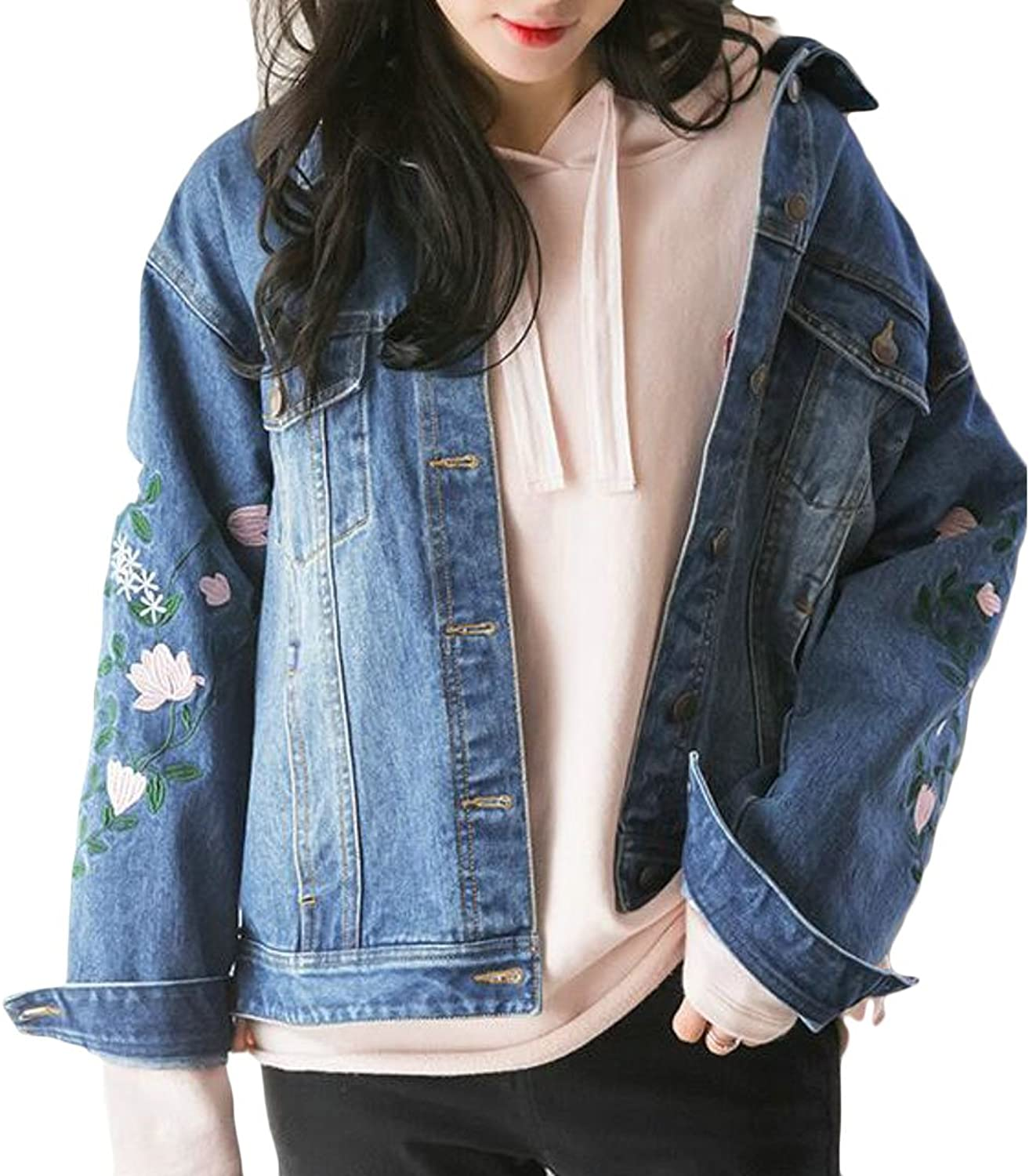Pandapang Women's Distressed Washed Denim Jean Coat Loose Embroidery Jacket