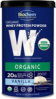 Biochem 100% USDA Organic Whey Protein - Vanilla - 12.7 oz - Easily Digestible - Pre & Post-Workout - Great in Smoothies -...