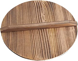 Natural Wood Wok lid,Wooden Lid Wok,Wooden Lid for Cast,Hand Made Lids with Large Handle for House Cast Iron Wok and Stir ...