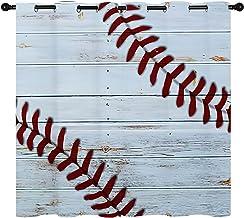 Baseball Cool Sport Gordijn, kant van een grappig honkbal op vintage houten planken badgordijnen, mannen jongens sport ver...