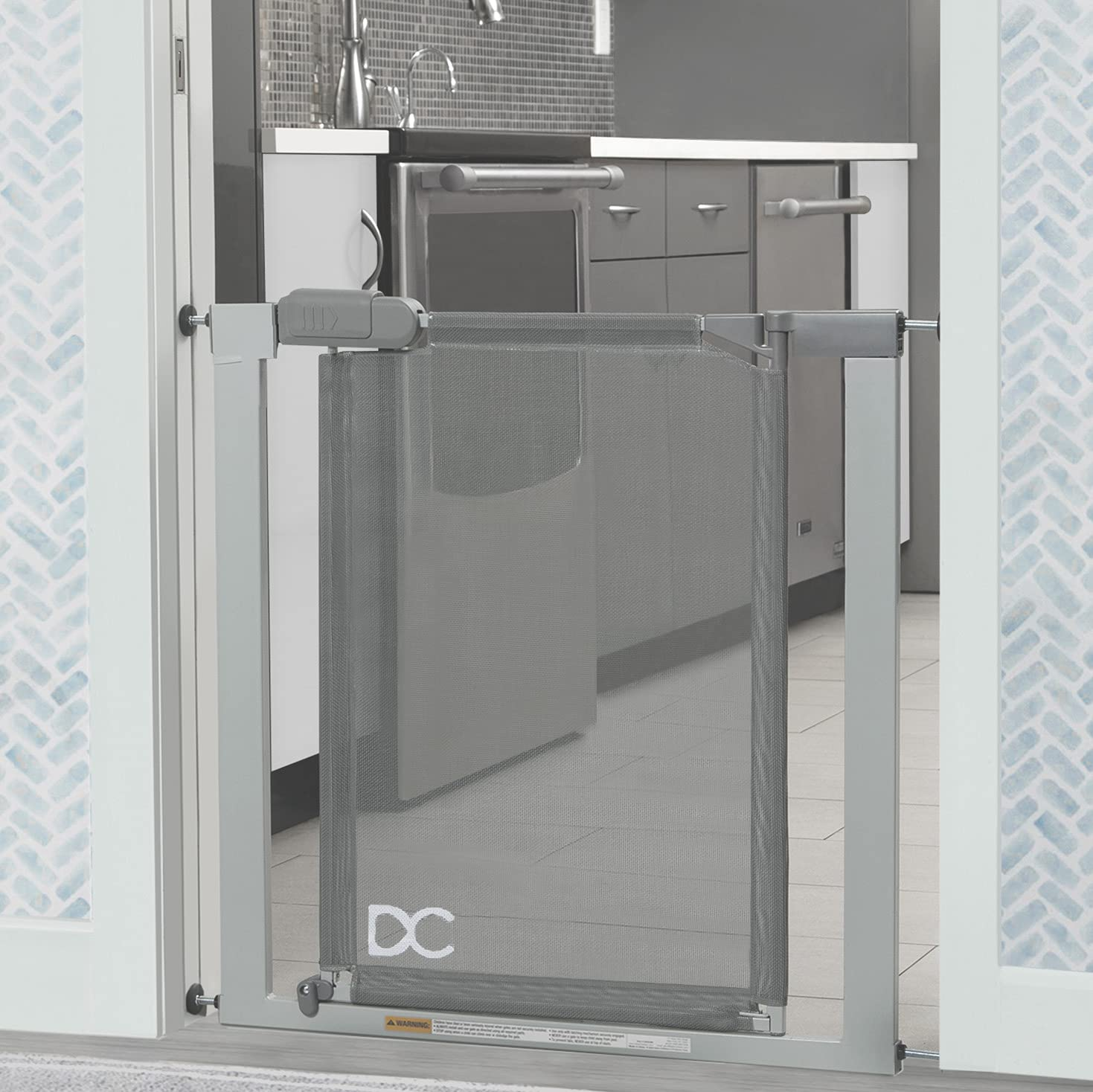 Delta Children 26.5-40 Inch Easy Install Pressure Mounted Baby and Pet Safety Gate with Walk Through Door - No Drilling, No Tools Required [Includes Wall Protectors/Extenders], Grey