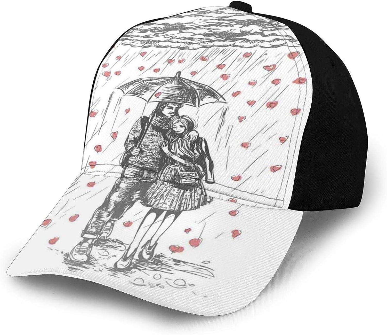 Sun Hat Bucket Style Men Women Couple Walking Under Heart Shape Rain Drops with and Umbrella,Fisherman Beach Hat Sun Protection