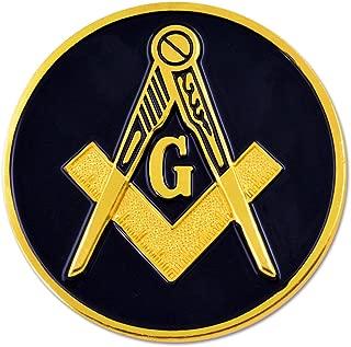 Square & Compass Round Black & Gold Masonic Auto Emblem - 3