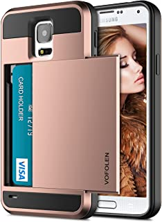Vofolen Case for Galaxy S5 Case Hybrid Cover Galaxy S5 Wallet Case Shock Absorption Rubber Soft Bumper Armor Anti-Scratch Protective Shell with Slide Card Holder Slot for Samsung Galaxy S5 Rose Gold