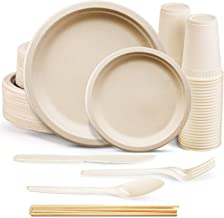 350Pcs Compostable Paper Plates Set, Biodegradable Utensils Heavy-Duty Plates Disposable Cutlery Eco-friendly Dinnerware S...