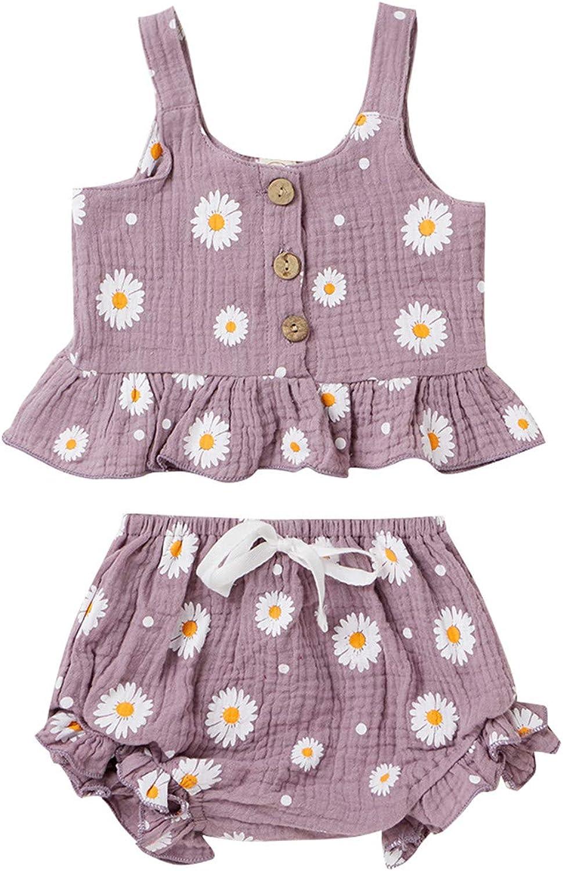 Toddler Baby Girls Cotton Linen Shorts Set Sleeveless Button Down Ruffle Shirt Crop Top Shorts Summer Outfit Set