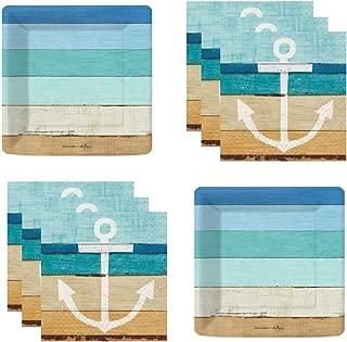 Coastal Nautical Beach Party Supplies Seaside Theme Plates and Napkins