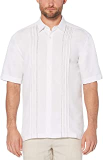 Men's Short Sleeve Cuban Camp Shirt with Contrast Insert Panels
