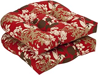 Pillow Perfect Indoor/Outdoor Floral Wicker Seat Cushions, 2 Pack, Red/Brown