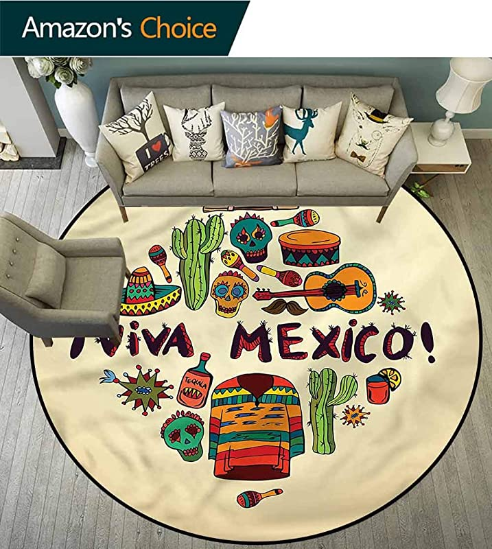 RUGSMAT Mexican Warm Soft Cotton Luxury Plush Baby Rugs Viva Mexico Doodle Symbols Foam Mat Living Room Decor Diameter 24