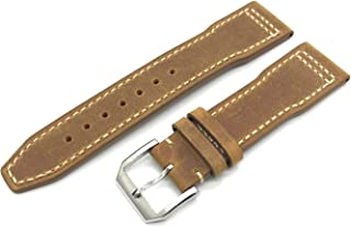 DGSTRAP 21mm Cow Leather Band Strap with Clasp Replacement fit for IWC Portuguese Top Gun Pilot Watches Small Short S Size (Crazy Horse Vintage Brown)