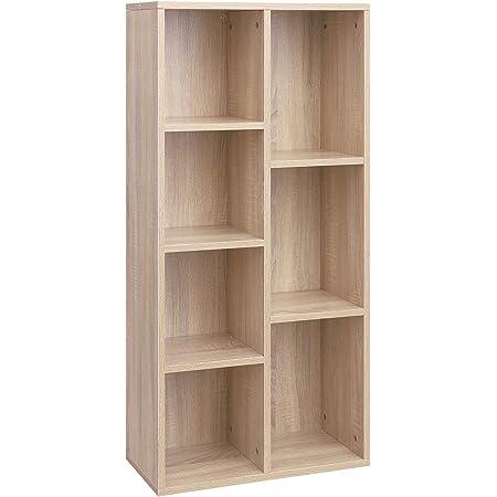 VASAGLE Librería con 7 Compartimentos, Estantería de 7 Cubos Abiertos, para Salón, Estudio, Oficina, 50 × 24 × 106 cm (Largo x Ancho x Alto), Color ...