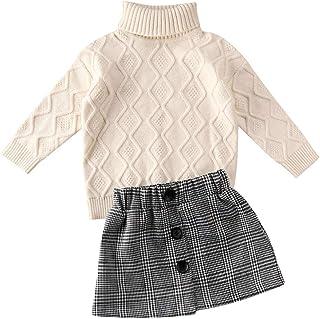 Carolilly 2 Pz Maglione Gonna Completi da Bambina Neonata Invernale Autunnale Vestiti Maglione Lavorato a Maglia Tinta Uni...