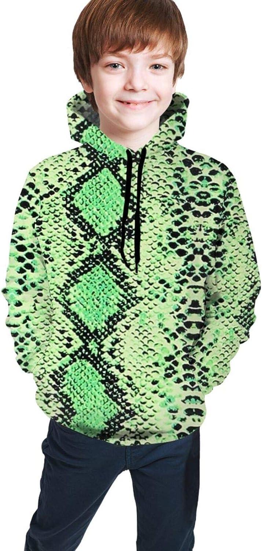 xqqr Boys Girls Hoodie Black Green Snake Print 3D Pullover Hooded Sweatshirts Youth/Kids