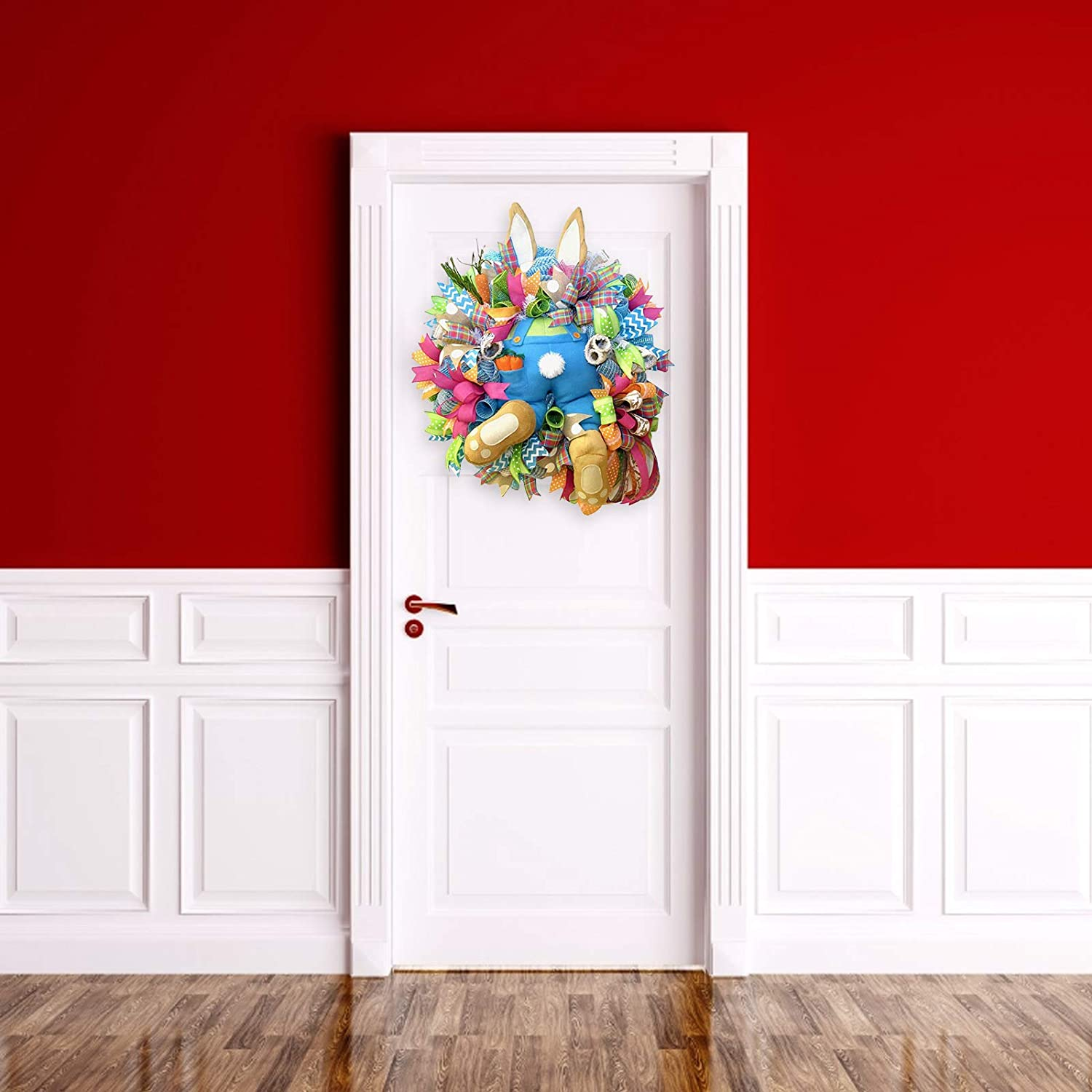 Rabbit Shape Garland Wall Decor HuaiQing Easter Rabbit Wreath Decor for Front Door Festival Hanging Decoration A Easter Thief Bunny Butt with Ears