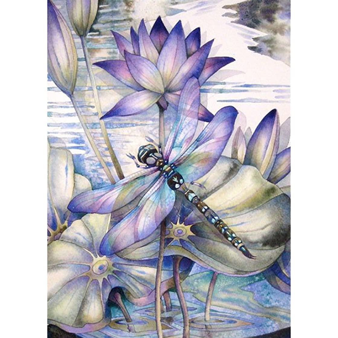 DIY 5D Diamond Painting by Number Kits, Crystal Rhinestone Embroidery Paint with Diamonds, Full Drill Canvas Art Picture for Home Wall Decor, Dragonfly, 9.84