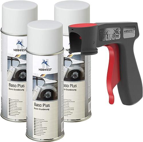 AUPROTEC Primaire d'adhérence Baso Plus Apprêt antirouille Spray Peinture Gris 3X 400 ML + 1x poignée Originale pour ...