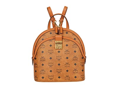 MCM Anna Visetos Backpack Small (Cognac) Backpack Bags