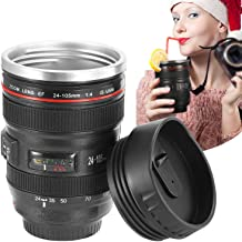 GPCT Camera Lens Coffee Mug with Lid, Travel Len Mug Canon, Stainless Steel Thermos Cup, 13oz, 400ml-Black