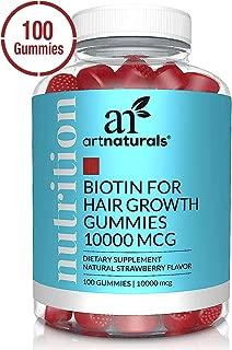 ArtNaturals Biotin Gummies for Hair Growth - (100 Gummies - 10000mcg) - Natural Strawberry Vitamins Supports Nails and Skin - Gelatin, Gluten, Nut and Egg Free