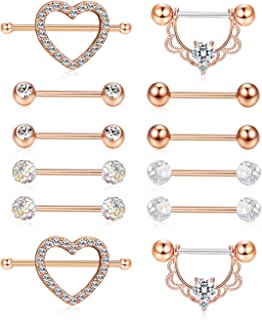 6 Pairs Stainless Steel Nipplerings Tongue Rings CZ Crystal Barbell Heart-Shape Piercing Jewelry 14G
