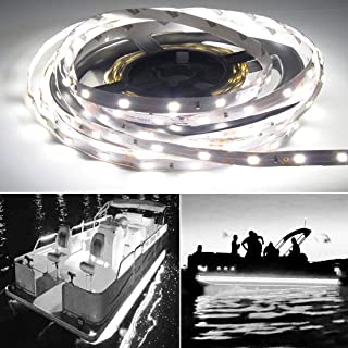 Seapon Pontoon Boat Light, Marine Led Light Strip for Duck Jon Bass Boat Sailboat Kayak Led Flex Lighting for Boat Deck Light Accent Light Courtesy Interior Lights Fishing Night, White,12v, 5m(16.4ft)