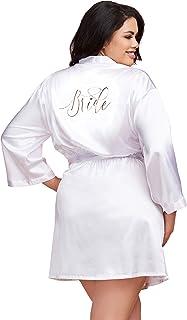 رداء للعروس من Dreamgirl نسائي كبير الحجم من الساتان Charmeuse مع رباط أمامي حزام الملابس الداخلية