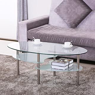 go2buy Oval Glass Coffee Table for Living Room Furniture Round Glass Top Chrome Finish Metal Legs Clear