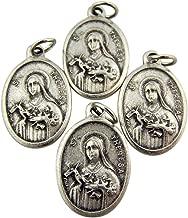 Bulk Lot of 4 Saint St Theresa of Lisieux 1 Inch Silver Tone Medal Pendant