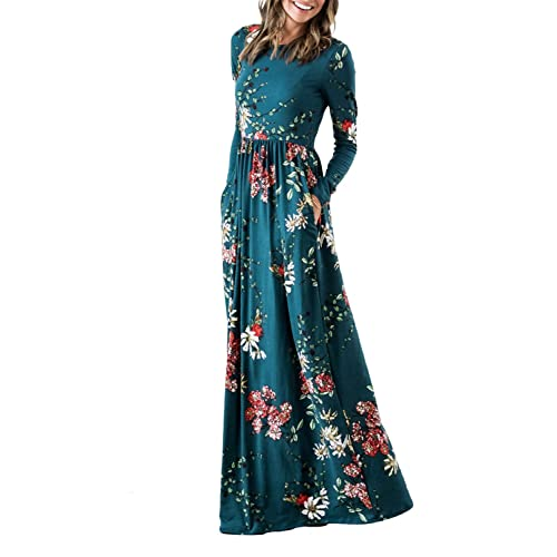 98cdf12a1 ZESICA Women's Floral Print Long Sleeve Pockets Empire Waist Pleated Long  Maxi Dress