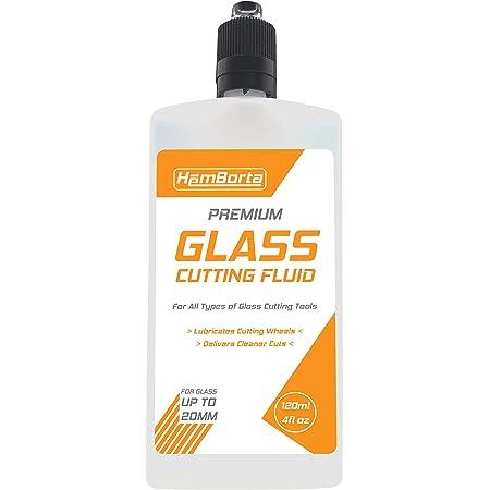 HemBorta ® Huile de coupe pour verre – Coupe-verre et coupe-bouteille – fonctionne sur vitres en verre, miroirs, carreaux de verre, forets et vitrail – 120 ml