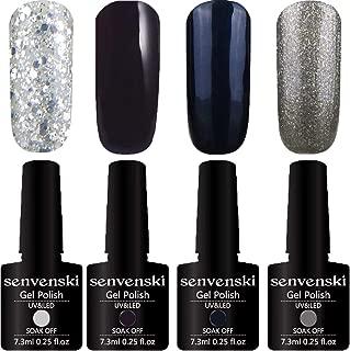 Senvenski Gel Nail Polish Glitter Soak Off Gift Set UV LED Art Varnish Kit Multicolour Black(CS008)