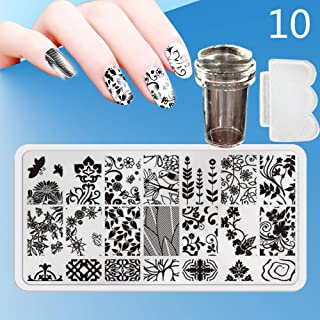 Zmond - New 12X6cm 44 Style Nail Stamping Plates Set Made Stencils Lace Flower DIY Nail Art Templates+Transparent Stamper Stamp Scraper [ 10 ]