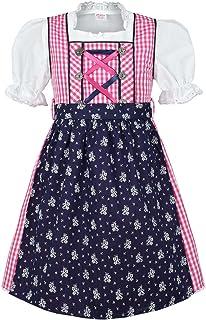 COALA Mädchen Kinderdirndl | 3-teiliges Set | mit Dirndl-Bluse und Dirndl-Schürze | pink blau, pink/blau,