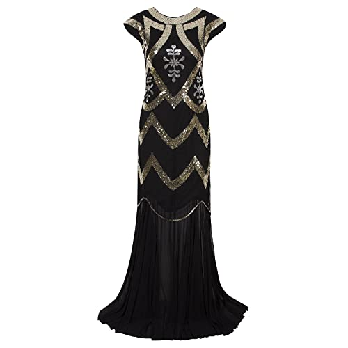 494b255058d Vijiv 1920s Long Prom Dresses V Neck Beaded Sequin Gatsby Maxi Evening Dress