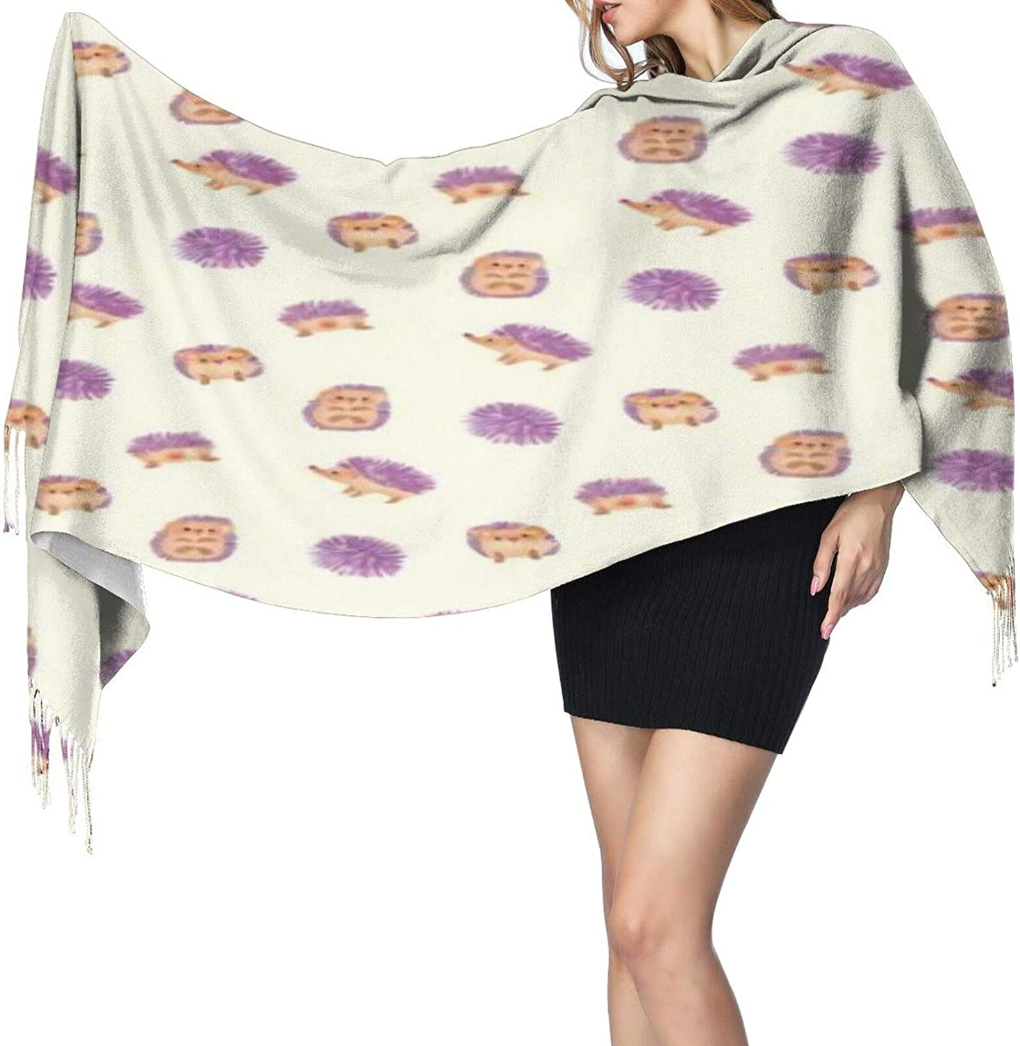 Cashmere fringed scarf Cute hedgehog winter extra large scarf