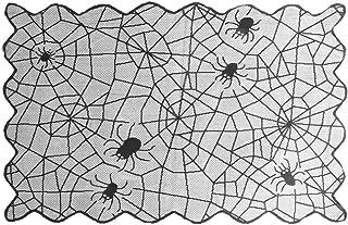 Vosarea Tela de araña de Halloween Mantel Encaje Chimenea Chimenea Camino de Mesa decoración de Fiesta de Halloween (Negro)