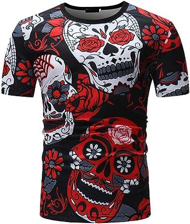 Camisetas Calaveras Hombre LHWY, Camisetas De Cuello Redondo con Estampado De 3D Camisetas Slim Casuales Personalidad Verano