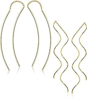 Sllaiss 2 Pairs 925 Sterling Silver Threader Earrings for Women Ear Line Wave Drop Dangle Fish Long Chain Earrings Hypoallergenic