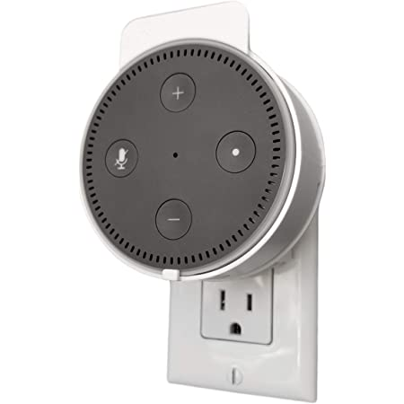 Dot Genie Deluxe Mount for Amazon Echo Dot 2nd Generation Alexa: The Simplest and Cleanest High-End Outlet Wall Mount Hanger Stand for Kitchen and Bathroom Speakers (Matte White)